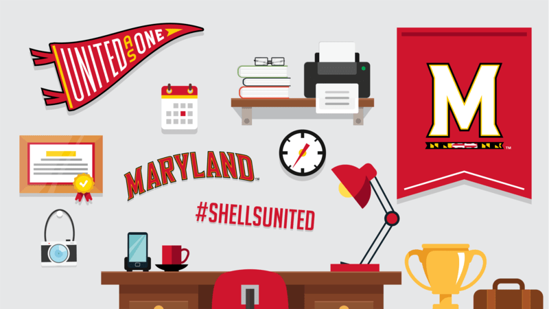 Illustration of student dorm room with UMD gear