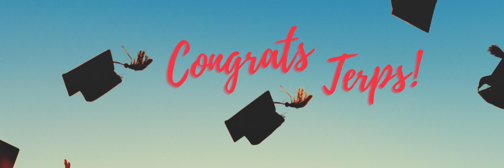 grad caps in air, congrats terps!